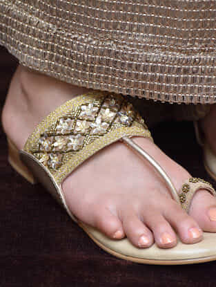 Beige-Gold Aari Embroidered Kolhapuri Flats