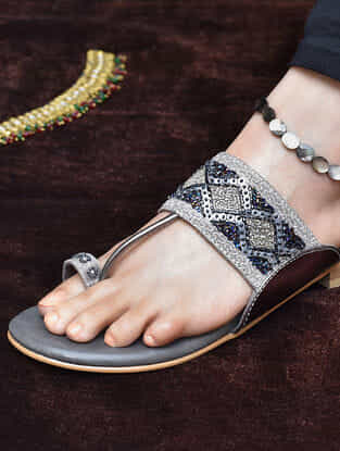 Grey Aari Embroidered Kolhapuri Flats
