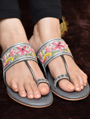 Grey-Multicolored Resham and Aari Embroidered Kolhapuri Flats