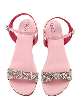 Pink-White Hand Embroidered Block Heel Sandals
