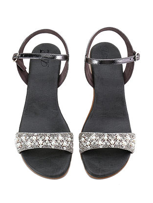 Grey-White Hand Embroidered Block Heel Sandals