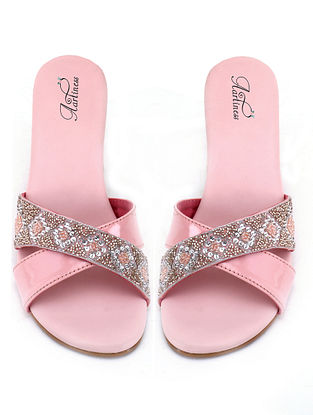 Pink-White Hand Embroidered Block Heels