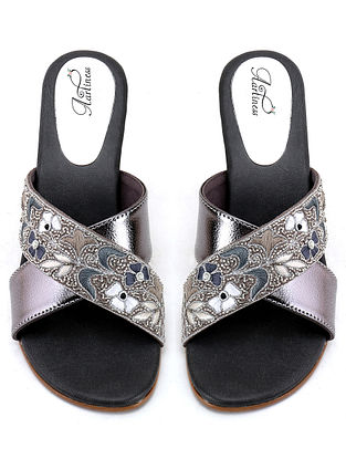 Grey Hand Embroidered Block Heels
