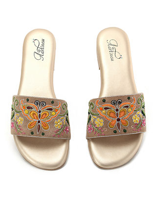 Beige-Multicolored Hand Embroidered Flats