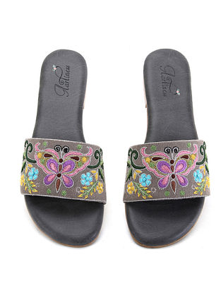 Grey-Multicolored Hand Embroidered Flats