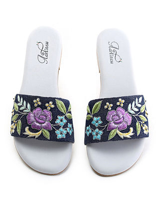 Blue-Multicolored Hand Embroidered Flats