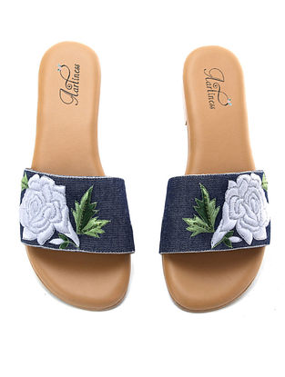 Blue-White Hand Embroidered Flats
