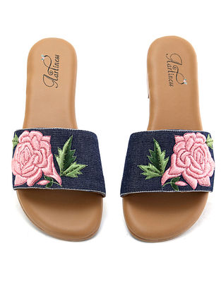 Blue-Pink Hand Embroidered Flats