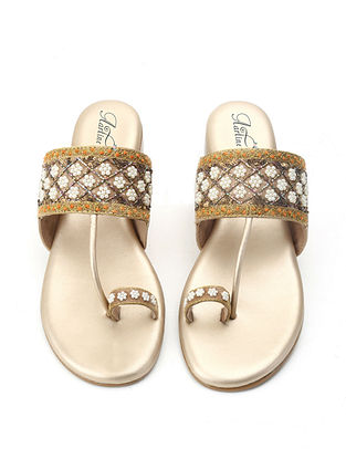 Beige-Gold Hand Embroidered Kolhapuri Flats