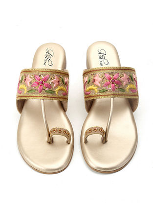 Beige-Multicolored Hand Embroidered Kolhapuri Flats