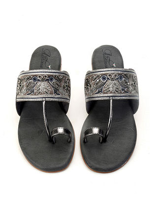 Grey Hand Embroidered Kolhapuri Flats