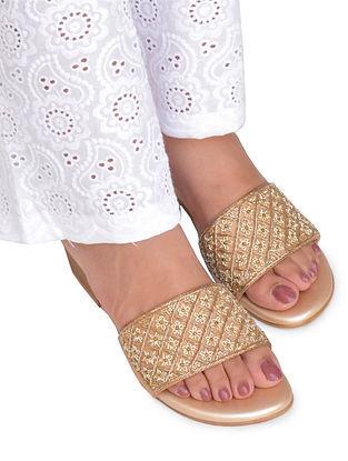 Beige-Gold Hand Embroidered Block Heels
