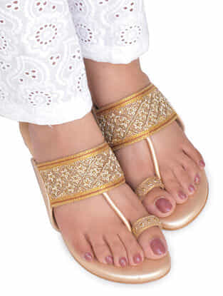 Beige-Gold Hand Embroidered Kolhapuri Block Heels