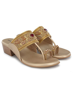 Beige Gold Hand Embroidered Kolhapuri Block Heels