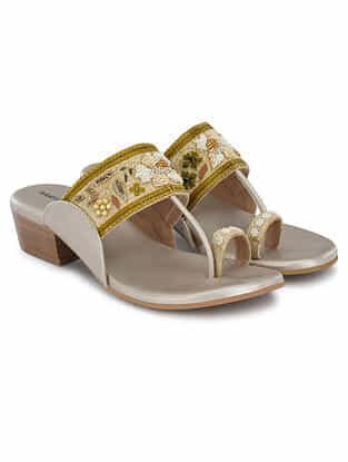 Golden Nude Hand Embroidered Kolhapuri Block Heels