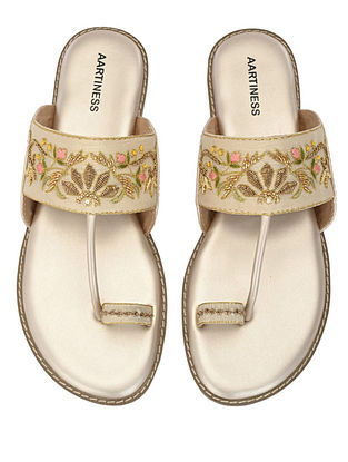 Mutlicolor Nude Hand Embroidered Faux Leather Kohlapuri Flats