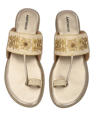 Nude Gold Hand Embroidered Faux Leather Kohlapuri Flats