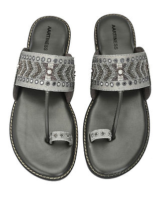 Grey Hand Embroidered Faux Leather Kohlapuri Flats