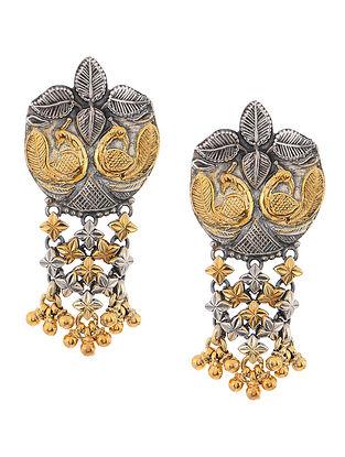 Dual Tone Silver Earrings with Peacock Motif