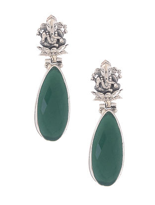 Green Silver Earrings with Lord Ganesha Motif