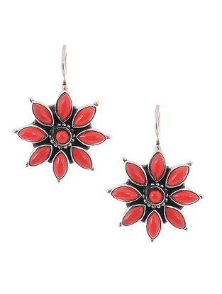 Coral Silver Earrings with Floral Design