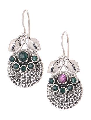Green-Pink Silver Earrings