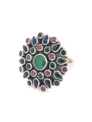 Multicolored Adjustable Silver Ring