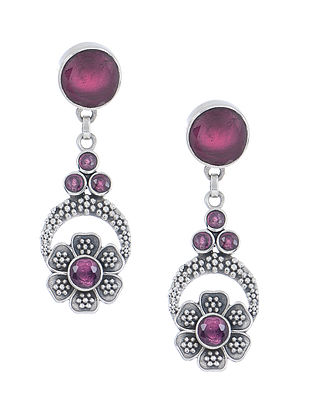 Purple Silver Earrings with Floral Design
