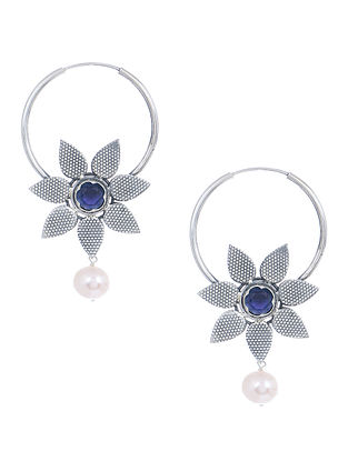 Blue Silver Earrings with Floral Design