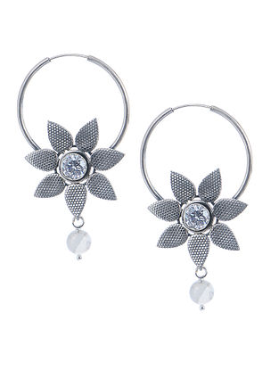 Classic Silver Earrings with Floral Design