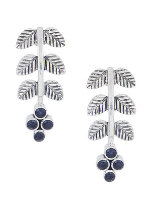 Blue Silver Earrings with Leaf Design
