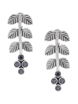 Black Silver Earrings with Leaf Design