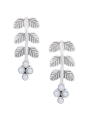 Pearl Silver Earrings with Leaf Design