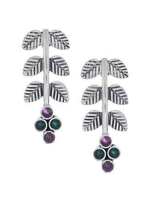 Purple-Green Silver Earrings with Leaf Design