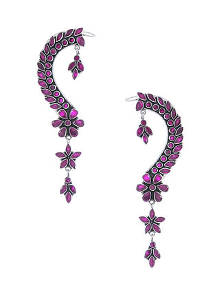 Purple Silver Ear Cuffs with Floral Design