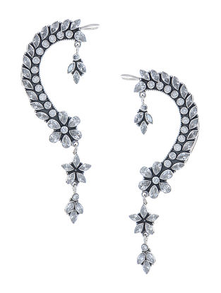 Classic Silver Ear Cuffs with Floral Design