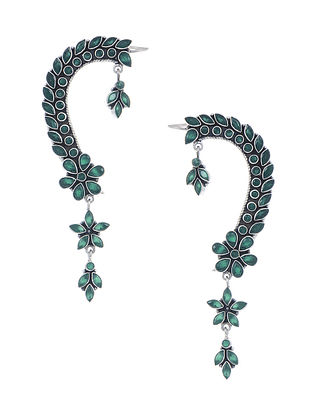 Green Silver Ear Cuffs with Floral Design