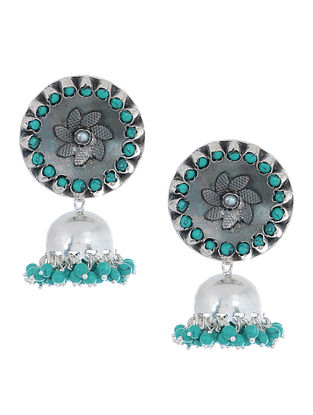 Turquoise Silver Jhumkis with Pearls