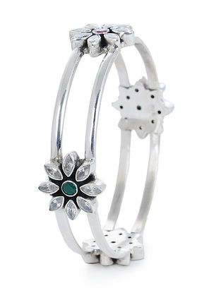 Pink-Green Hinged Opening Silver Bangle with Floral Design (Bangle Size -2/4)