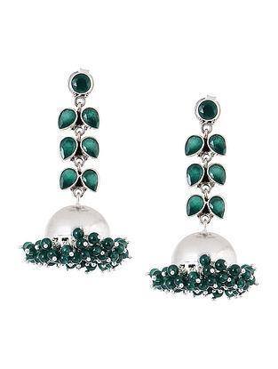 Green Silver Jhumkis