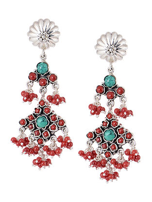Red-Turquoise Silver Earrings with Floral Design