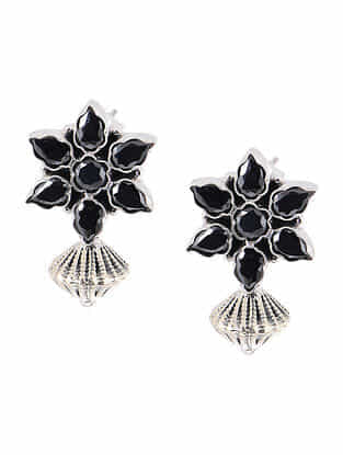 Black Silver Earrings with Floral Design