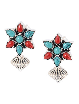 Turquoise-Red Silver Earrings with Floral Design