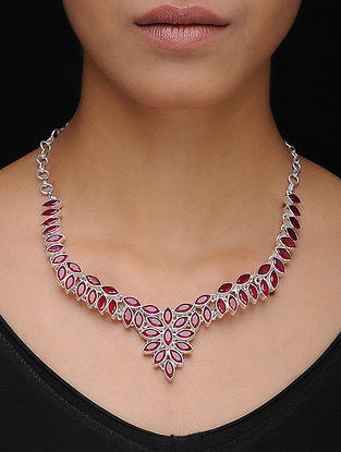 Pink Silver Necklace