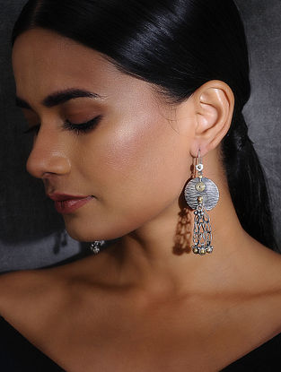 Dual Tone Tribal Silver Earrings