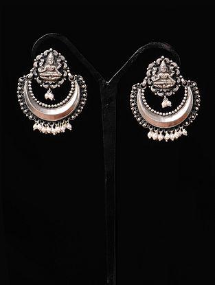 Pair of Goddess Lakshami Silver Earrings