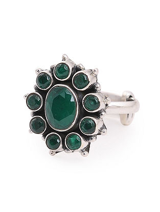 Green Adjustable Silver Ring