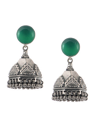 Green Tribal Silver Jhumkis