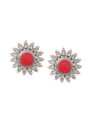 Coral Tribal Silver Earrings