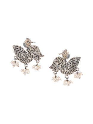 Tribal Silver Earrings with Pearls